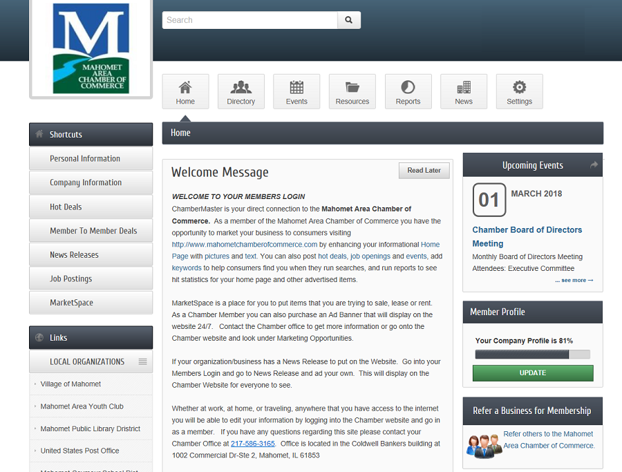 Mahomet Chamber of Commerce Member Website