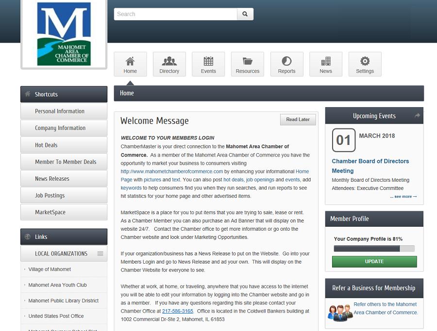 Mahomet Chamber of Commerce Member Website